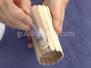 Pencil holder with ice cream sticks Image