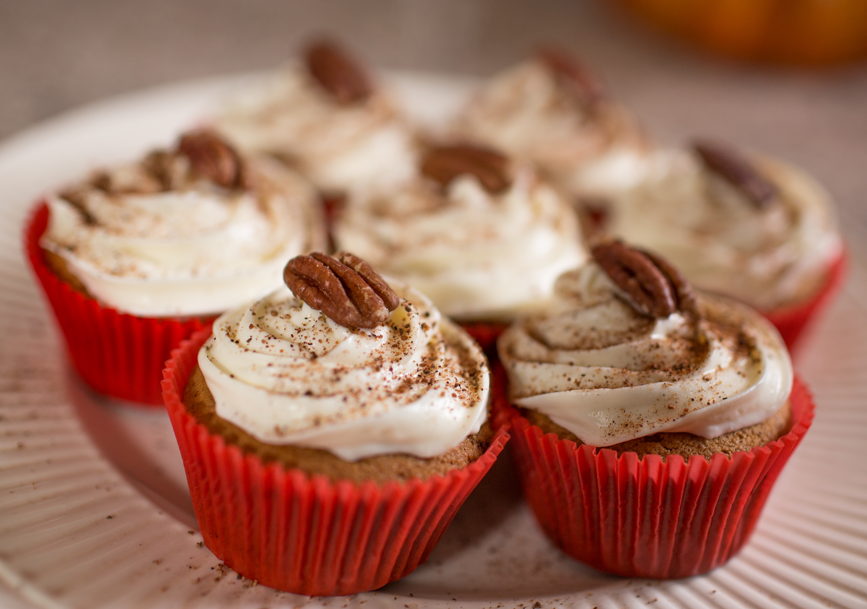 Pumpkin Puree Cupcakes with Pecans