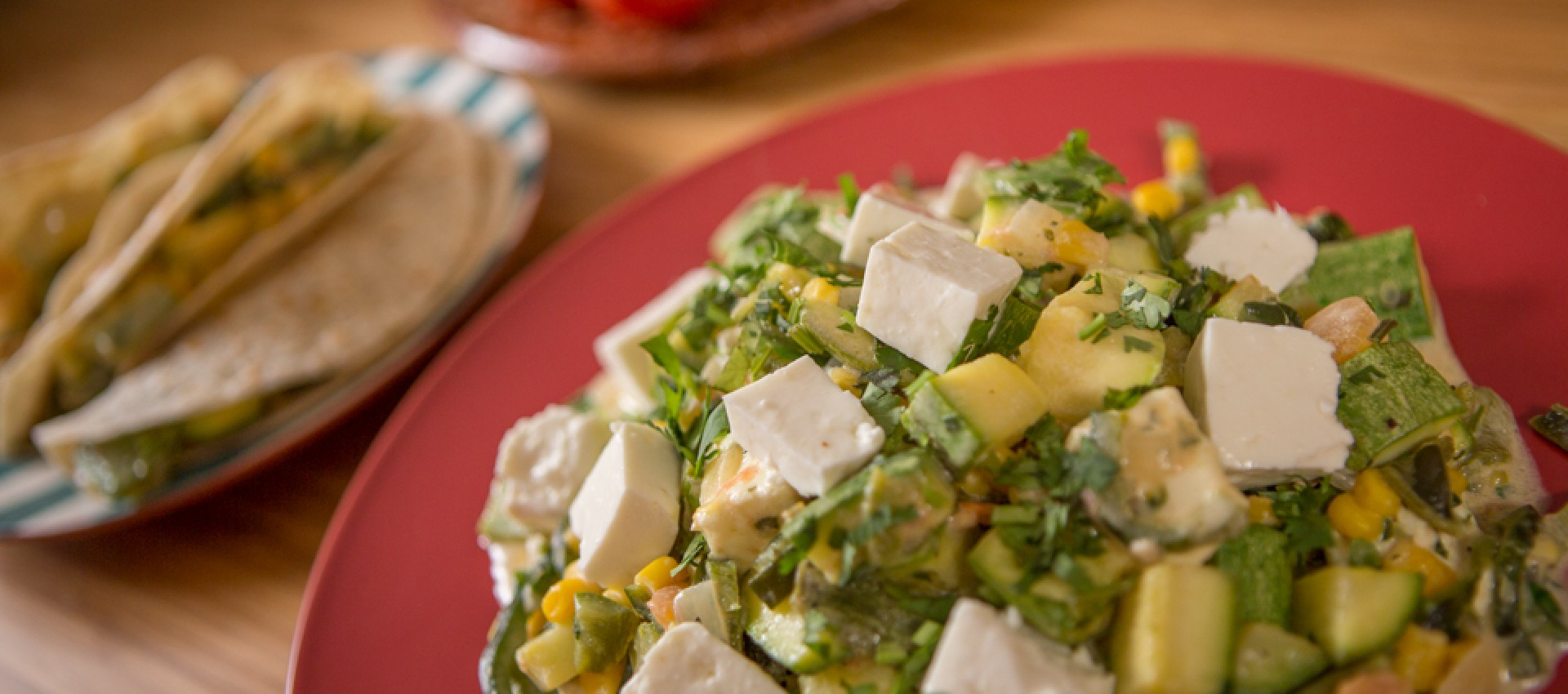 Zucchini with cheese and corn rajas Image